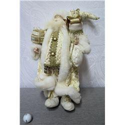 """Santa Figurine in Gold Coat w/ Fur Trim & Presents 25"""" Tall"""