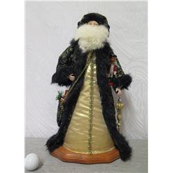 "Santa Figurine on Base Signed by Artist Joan Blankenfeld Hawaii 2005 - 18"" Tall"