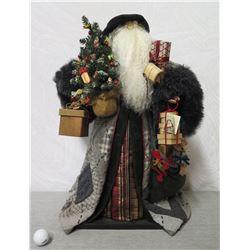 """Santa Figurine 'Over the Koolaus' Signed Ione Adams 2004 - 25"""" Tall"""