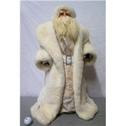 """Santa Figurine in White Coat & Hat w/ Fur Trim 28"""" Tall"""