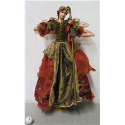 "Angel Figurine w/ Gold & Burgundy Wings & Dress 27"" Tall"