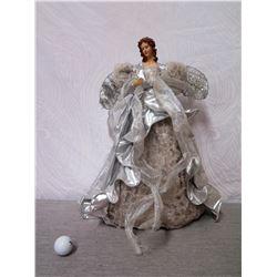 """Angel Figurine w/ Silver Wire Wings & Dress 22"""" Tall"""