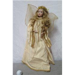 """Angel Figurine w/ Beige & Gold Wings & Dress 23"""" Tall"""