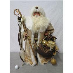 """Santa Figurine in Fur Trimmed Coat w/ Staff & Presents 28"""" Tall"""