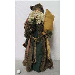 """Santa Figurine in Brown Fur Coat & Hat w/ Presents 33"""" Tall"""