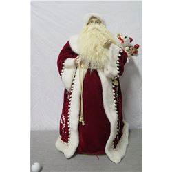 """Santa in Red Coat & Hat w/ Fur Trim & Presents, 30"""" Tall"""