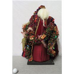 """Santa Figurine 'Over the Koolaus' Signed Ione Adams 26"""" Tall"""