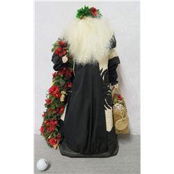 """Santa Figurine 'Over the Koolaus, Kaneohe' Signed Ione Adams 2001 - 26"""" Tall"""