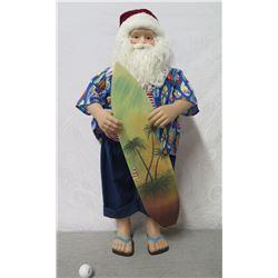 "Hawaiian Santa in Aloha Wear & Slippers w/ Surfboard ,36"" Tall"