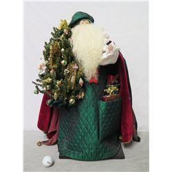"""Santa w/ Tree Signed Ione Adams 2005 - 26"""" Tall"""