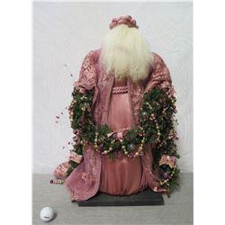 "Santa w/ Wreath 'Over the Koolaus' Signed Ione Adams 25"" Tall"