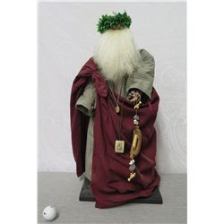 """Santa w/ Tag 'Our Lady of Mt Carmel. Have Pity On Us' 28"""" Tall"""