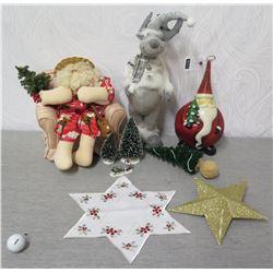 Misc Ornaments: 2 Santas, Reindeer, Stars & Tree Decorations