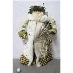 "MacKenzie-Childs Santa in Star Coat w/ Fur Trim, 34"" Tall"