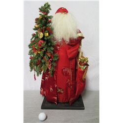 "Santa Figurine in Red Leaf Print Cape Holding Tree & Presents 26"" Tall"
