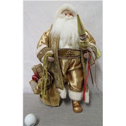 "Santa Figurine in Gold Beaded Cape Holding Ornament & Presents 18"" Tall"