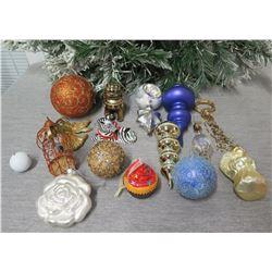 Qty Approx. 13 Christmas Tree Ornaments: Balls, Cones, Angel, Zebra, Foo Dog, etc