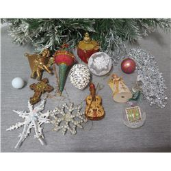 Qty Approx. 13 Christmas Tree Ornaments: Balls, Angel, Snowflakes, Ukulele, etc