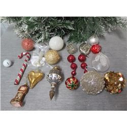 Qty Approx. 14 Christmas Tree Ornaments: Balls, Cones, Candy Canes, Heart, etc