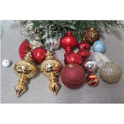 Qty Approx. 14 Christmas Tree Ornaments: Balls, Cones, Spheres, etc