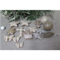 Qty Approx. 15 Christmas Tree Ornaments: Stars, Balls, Butterflies, Crown, etc