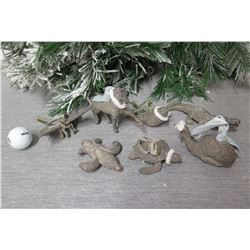 Qty Approx. 7 Christmas Tree Ornaments: Turtle, Seal, Horse, Bird, etc