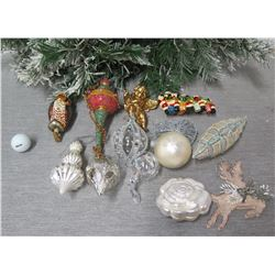 Qty Approx. 12 Christmas Tree Ornaments: Balls, Cones, Flower, Angel, etc