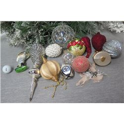 Qty Approx. 14 Christmas Tree Ornaments: Balls, Spheres, Athlete, Pine Cone, etc