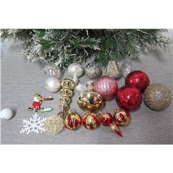 Qty Approx. 19 Christmas Tree Ornaments: Balls, Spheres, Snowflake, etc
