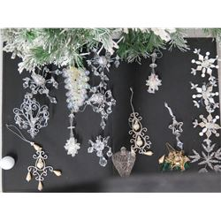 Qty Approx. 15 Christmas Tree Ornaments: Wire, Beaded, Shell, Cone, etc