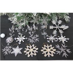 Qty Approx. 15 Christmas Tree Ornaments: Beaded, Snowflakes, Stars, etc