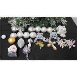 Qty Approx. 22 Christmas Tree Ornaments: Balls, Trees, Snowmen, Cross, etc