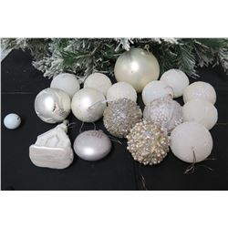 Qty Approx. 13 Christmas Tree Ornaments: Balls, 2011, Church, Beaded, etc
