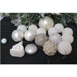 Qty Approx. 13 Christmas Tree Ornaments: Balls, 2011, Church, Beaded, etc