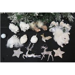Qty Approx. 14 Christmas Tree Ornaments: Polar Bears, Reindeer, Stars, etc