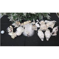 Qty Approx. 13 Christmas Tree Ornaments: Owls, Swans, Bunny, Birds, etc