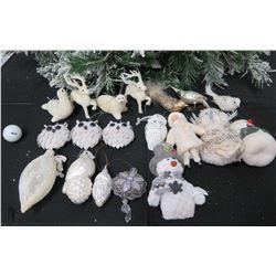 Qty Approx. 19 Christmas Tree Ornaments: Owls, Snowmen, Reindeer, etc