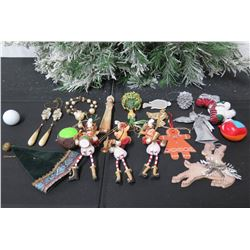Qty Approx. 15 Christmas Tree Ornaments: Reindeer, Beaded, Angels, etc