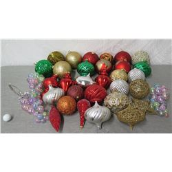 Qty Approx. 30 Christmas Tree Ornaments: Balls, Grapes, Spheres, etc