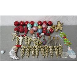 Qty Approx. 50 Christmas Tree Ornaments: Balls, Cones, Angels, Trees, etc