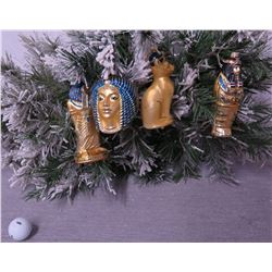 Qty 4 Christmas Tree Ornaments: Egypt Theme Queen, Mummy, Angel, Cat