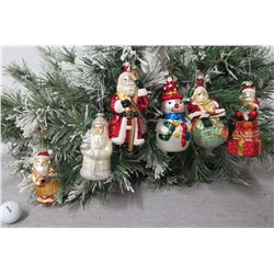 Qty 6 Christmas Tree Ornaments: Santas, Snowmen, Kings, Caroler, etc