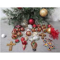 Qty Approx. 30 Christmas Tree Ornaments: Balls, Crosses, Shoe, Balloon, etc