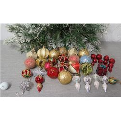 Qty Approx. 38 Christmas Tree Ornaments: Balls, Spheres, Snowflakes, etc