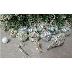 Qty Approx. 11 Christmas Tree Ornaments: Mirrored Disco Balls, Candy Cane, etc