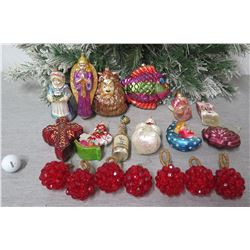 Qty Approx. 19 Christmas Tree Ornaments: Angels, Lion, Balls, Fish, etc