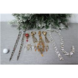 Qty Approx. 9 Christmas Tree Ornaments: Long Icicles, Shells, Open Lei, etc