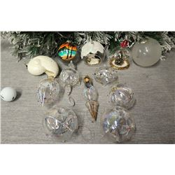 Qty Approx. 12 Christmas Tree Ornaments: Shells, Oahu Scenes, Clear Balls, etc