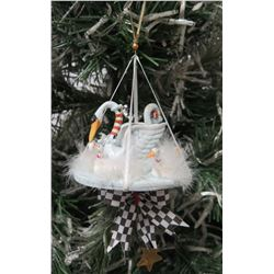 "Ceramic Swan Family Christmas Tree Ornament w/ Maker's Mark PB 05 - 6"" H"