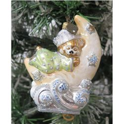 "Jay Strongwater Christmas Tree Ornament Sleeping Bear on Moon 4.5"" Long"